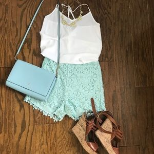Lace detailed high waisted shorts
